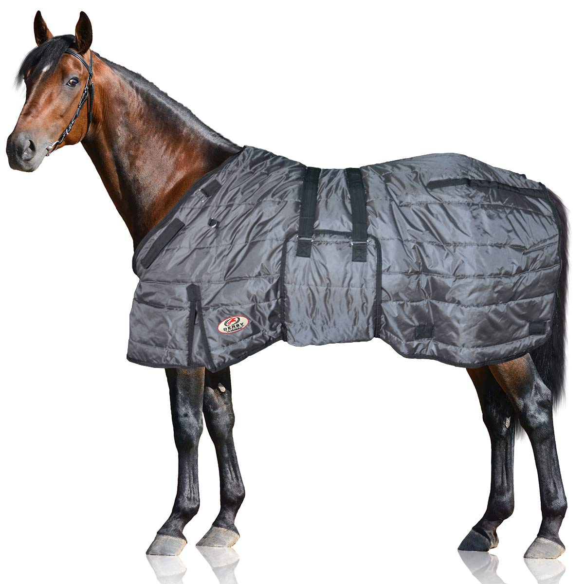 Charcoal 78\ Charcoal 78\ Derby Originals Windstorm Series Premium Horse and Draft Winter Stable Blanket with 420D Breathable Nylon Exterior Medium Weight 200g Polyfil Insulation
