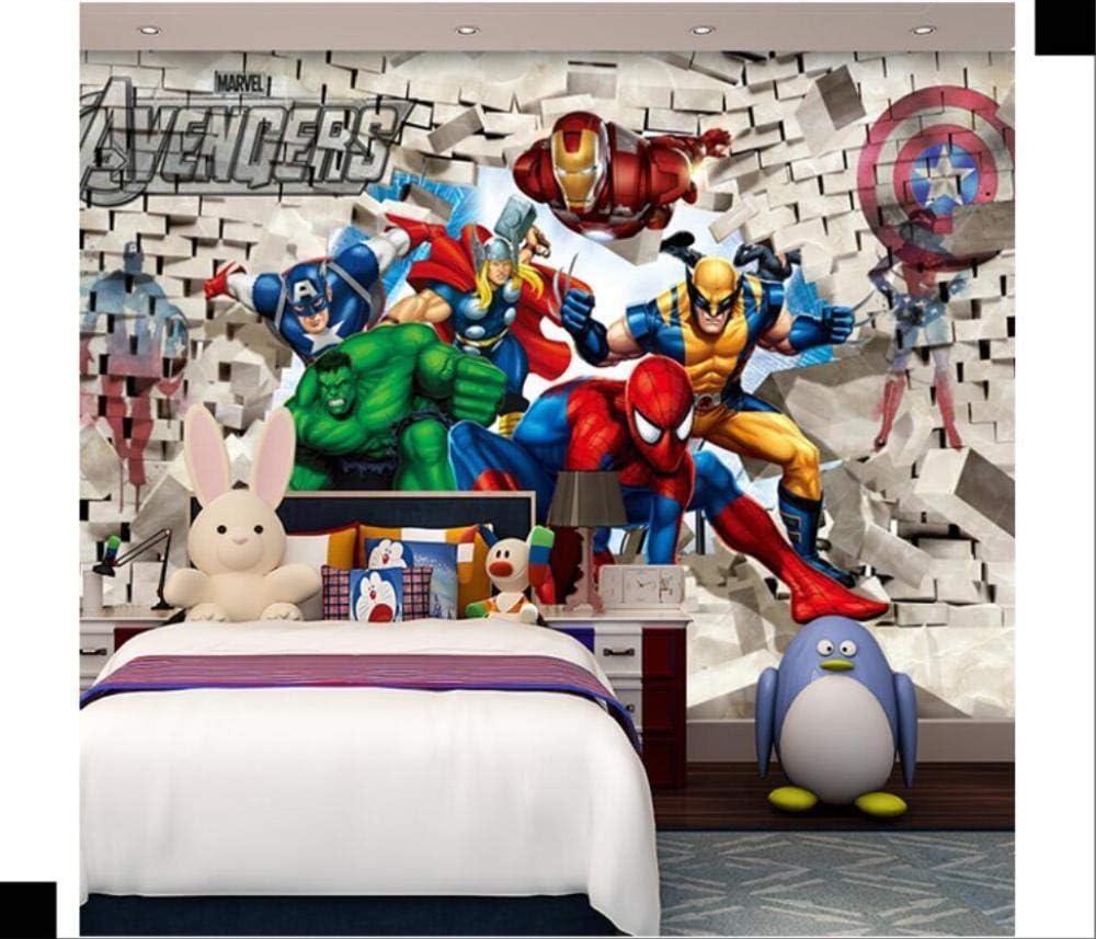 Personnalis/é 3D Photo Papier Peint 3D Bande Dessin/ée Enfants Chambre Papier Peint Avengers Chambre Fond Papier Peint Spiderman-350Cmx245Cm