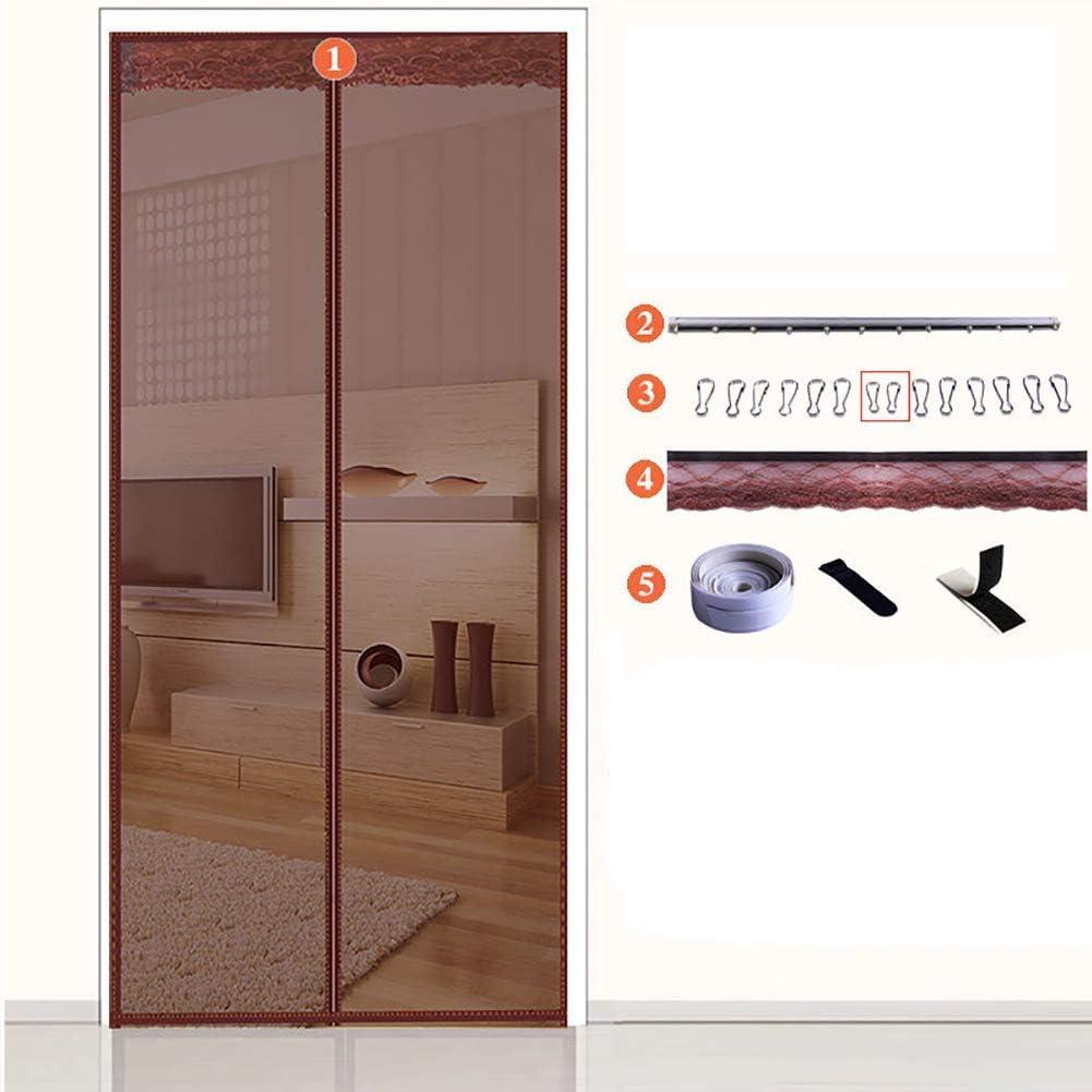 QTQA Puerta Magnética para Mosquiteras con Riel para Puertas Corredizas, Mosquitera con Ganchos De Deslizamiento Y Sello Magic Tape Ultra Brown 100x200cm/39.4x78.7inch
