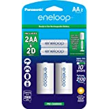 Panasonic K-KJS1MCA2BA eneloop D Size Battery Adapters with eneloop AA 2100 Cycle Ni- MH Pre-Charged Rechargeable Batteries,
