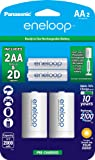 eneloop Panasonic K-KJS1MCA2BA D Size Battery Adapters with eneloop AA 2100 Cycle Ni- MH Pre-Charged Rechargeable…