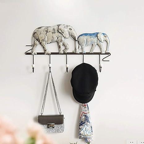 XIPOZAC Pintado A Mano Perchero De Hierro Forjado Elefante ...