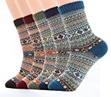 Ueither Mens/ Womens 5 Pairs Vintage Style Knitting Wool Warm Winter Fall Crew Socks