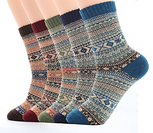 Ueither Mens/Womens 5 Pairs Vintage Style Thick Knitting Wool Warm Winter Fall Crew Socks (Shoe Size:6-11) (Men Fall Style)
