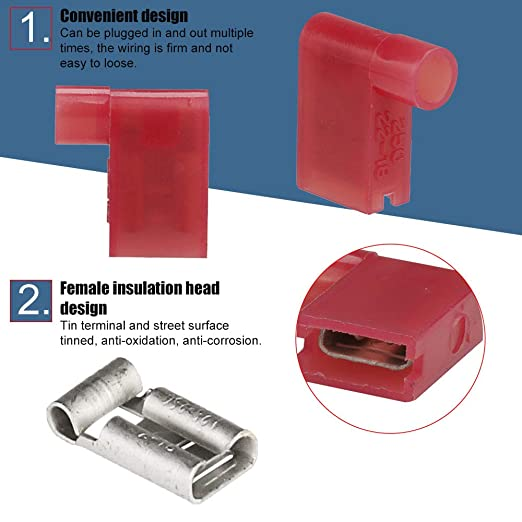 Flag 90 Degree Electrical Terminals Crimp Connectors Red or Blue
