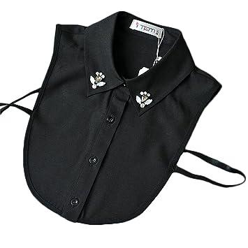 Mujeres negras y camisa de las muchachas Blusa Destacable Falso Collar