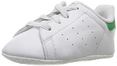 hot sale online b056c 1df3a adidas Originals Boys  Stan Smith Crib Running Shoe, White Green, 1 Medium