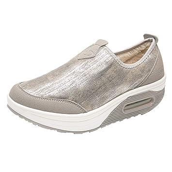 Fuxitoggo Plataforma para Mujeres Zapatillas sin Cordones para Mujer Zapatos Casuales Mocasines Sandalias para Exteriores para Interiores (Color : Beige, ...