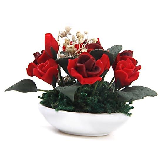 Amazon.es: Plantas de casa de munecas - SODIAL(R) 1/12 Plantas de arcilla en miniatura de casa de munecas Rosa gypsophila flor olla de ceramica: Juguetes y ...