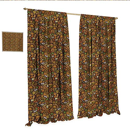 German Patterned Drape for Glass Door Cartoon Style Cute Deutschland Pattern with Flag Hops and Pretzels Hand Drawn Doodle Window Curtain Fabric W84 x L96 Multicolor.jpg (Versace Deutschland)
