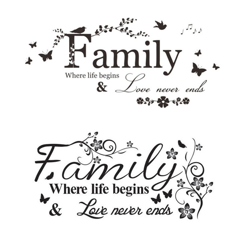 Zhangzhiming 2 PCS Wall Stickers Vinyl Decal Art Mural Home Decor Family Wall Stickers