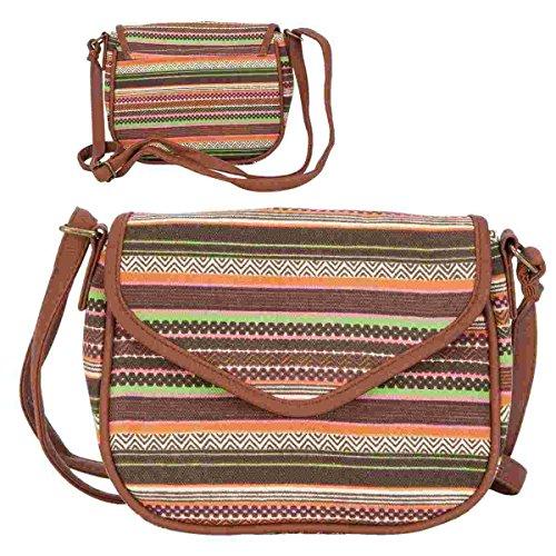 Clayre & Eef BAG204 borsa a tracolla borsa marrone a fantasia ca, 21 x 1 x 4 x 17 cm