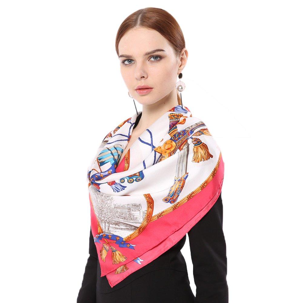 Bluelans/® Damenschal Faux Seidenschal Seidentuch Blume Bandana Halstuch Kopftuch Schal 90 x 90 cm Bunte