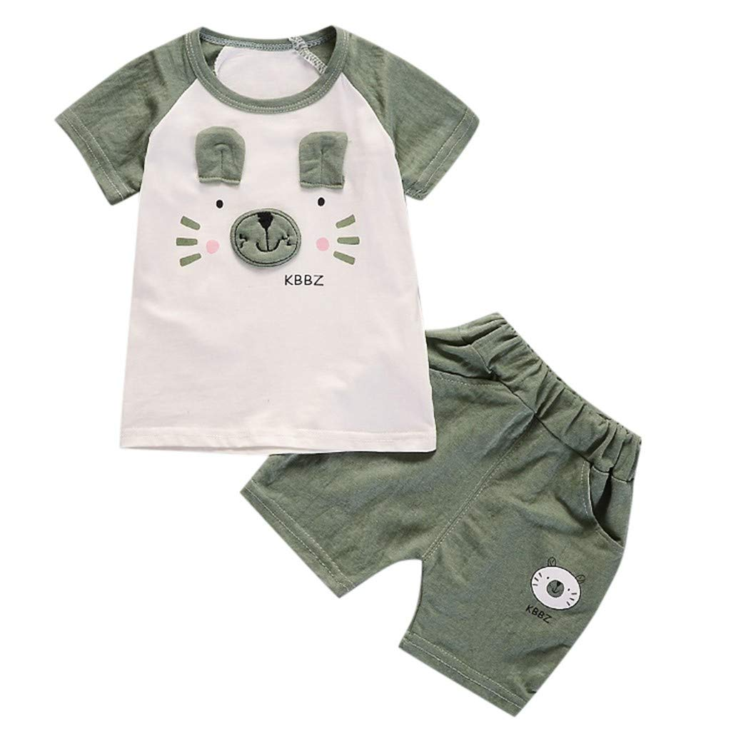 Toddler Infant Baby Girls Boys Outfit Sets T Shirt Shorts Pants Summer Layette Sets (6-12M, Green)