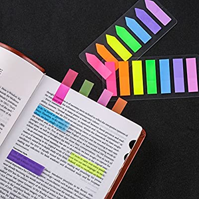 Lysas 4 Sets Neon Page Markers Colored Index Tabs, Fluorescent Sticky Note for Page Marker, 560pcs