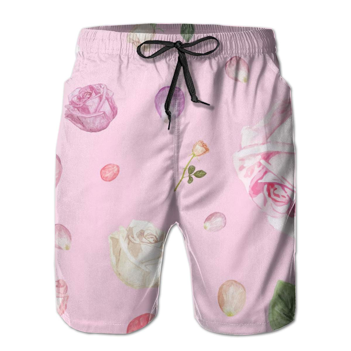 Leisue Pink Rose Quick Dry Elastic Lace Boardshorts Beach Shorts Pants Swim Trunks Mens Swimsuit with Pockets