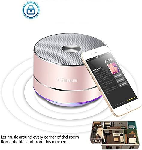 A2 LENRUE Portable Wireless Bluetooth Speaker with Built-in-Mic,Handsfree Call,AUX Line,TF Card,HD Sound and Bass for iPhone Ipad Android Smartphone and More Rose Gold