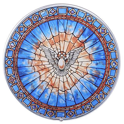 Window Spirit (Stained Glass Panel - The Holy Spirit Round Stained Glass Window Hangings - Art Glass Window Treatments)