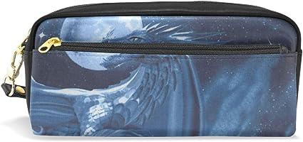 Bolsa de lápices Bolso Estuche Bolígrafo Luna llena Noche Fantasía Dragón Maquillaje Cosmético para niñas Niños Escuela de viaje: Amazon.es: Oficina y papelería