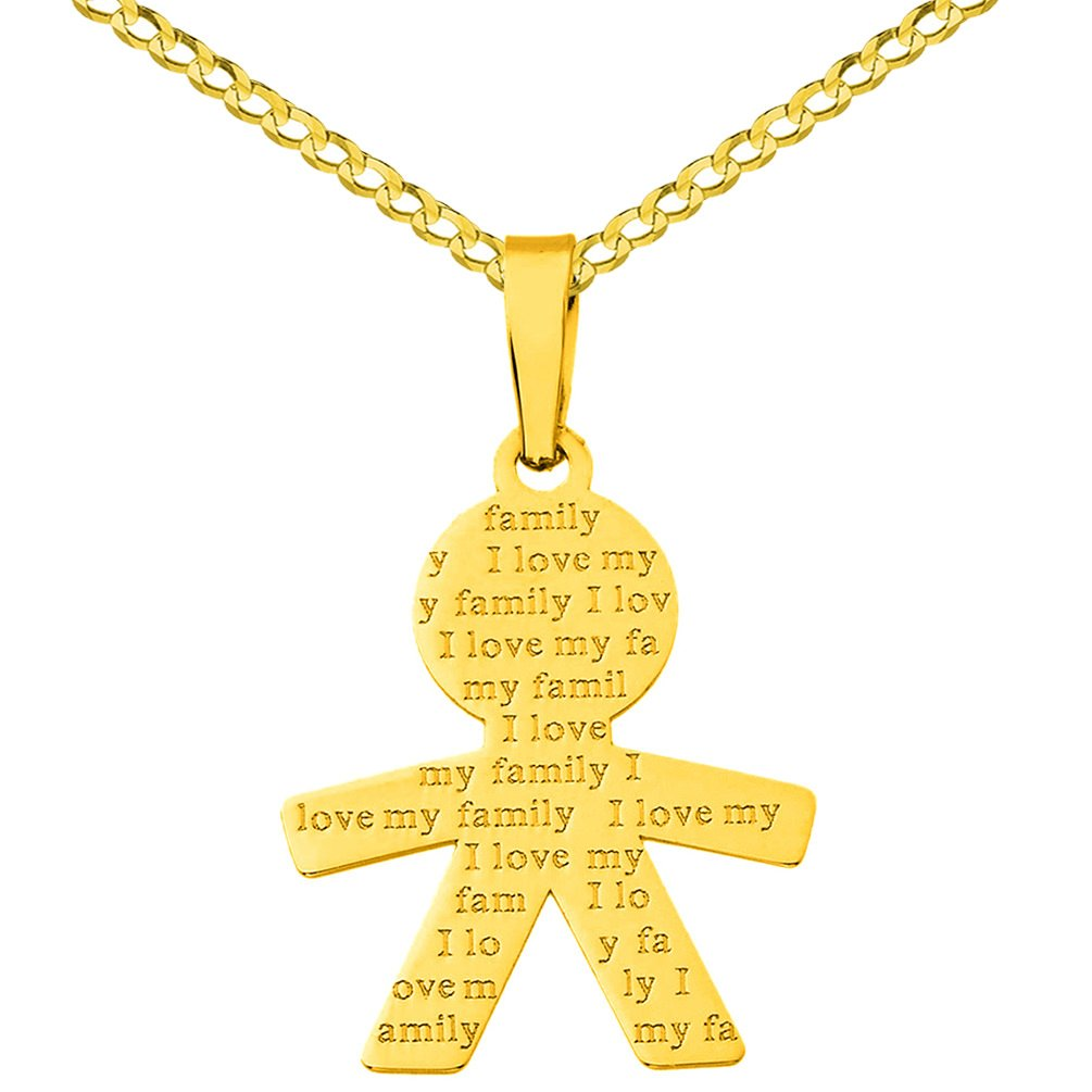 14K Yellow Gold Little Boy Charm with I Love My Family Engraved Script Pendant Necklace, 22''