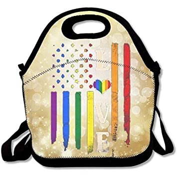 60df16f40874 Amazon.com: Monitorloe Love Rainbow Heart Insulated Lunch Box Tote ...
