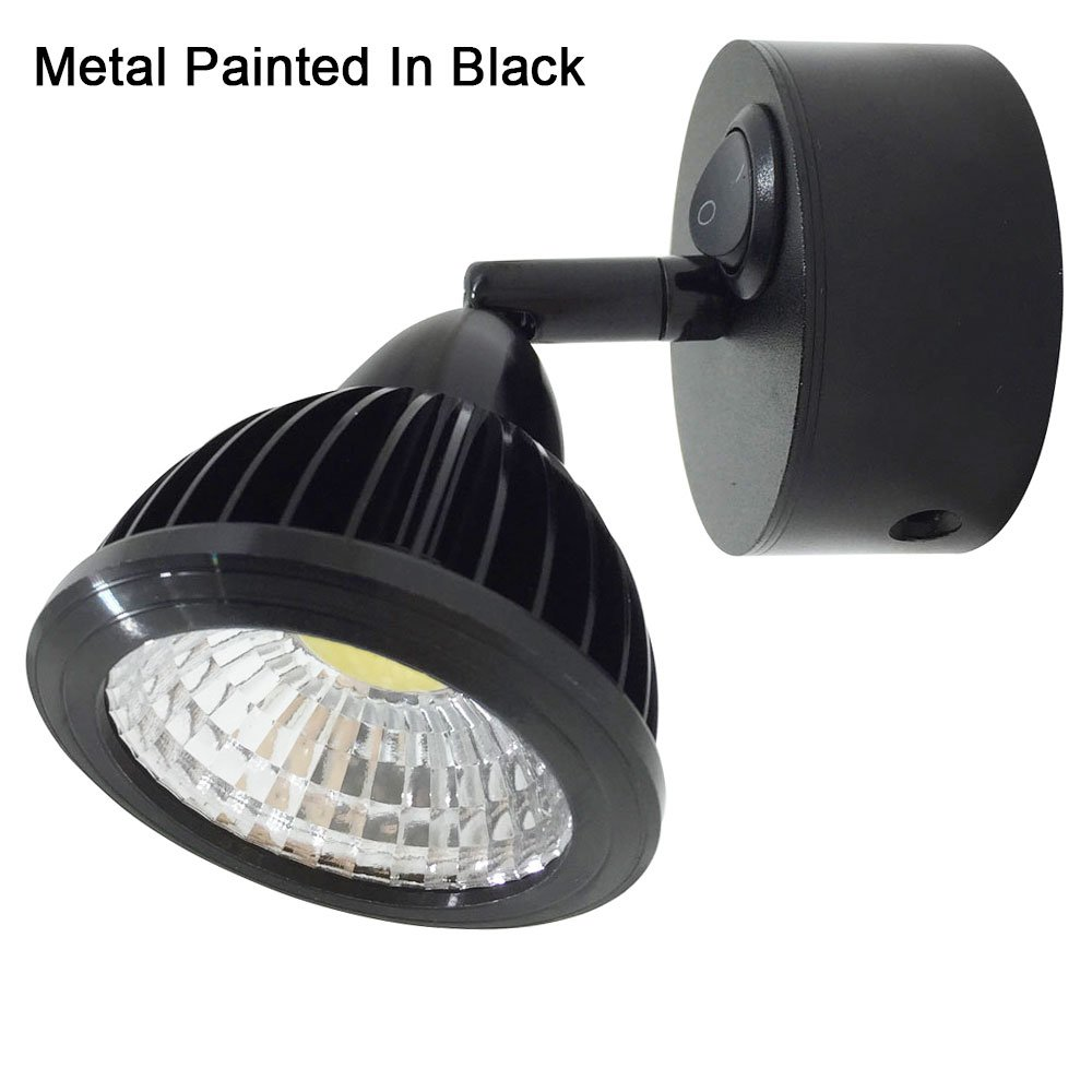 12v-LEDlight Small Vintage LED Reading Lights for RV Boats Trucks - Black Wall Sconce Decoration - Flexible Joint Bed Light Rocker Switch, 3w, Natural White