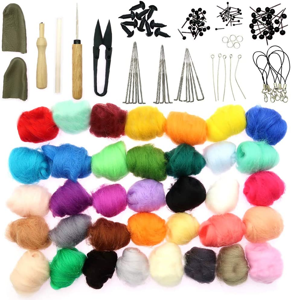 Kit de iniciación de fieltro de aguja, 36 colores de lana fibra ...