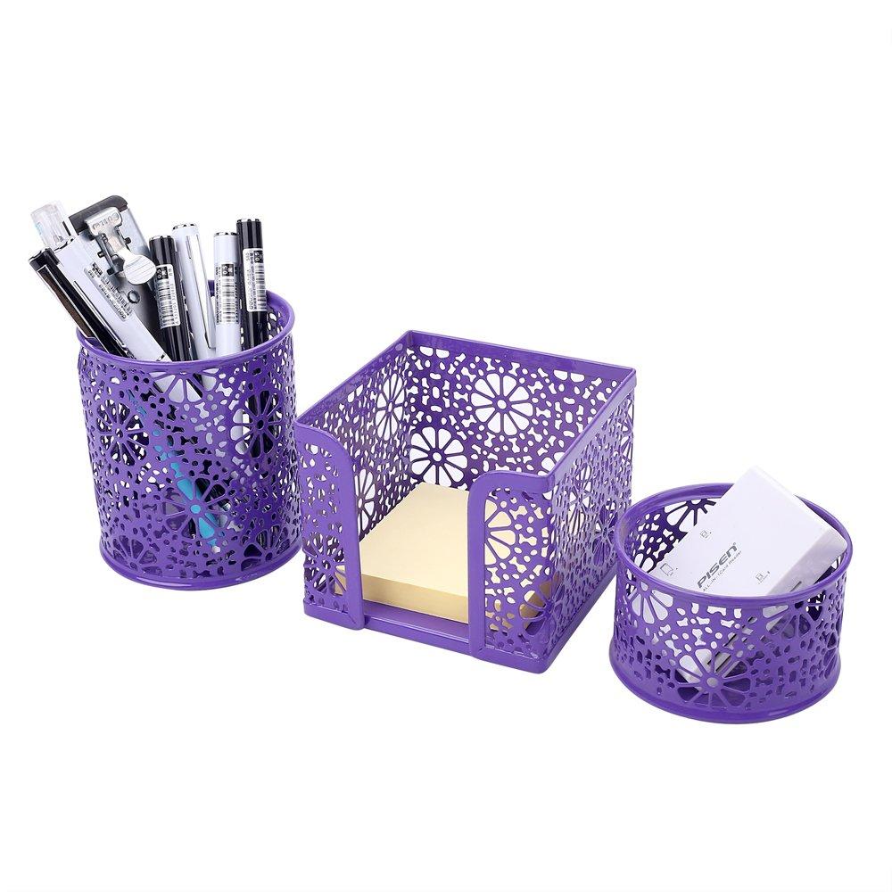 Crystallove Metal Mesh Office Supplies Desk Organizer, Purple-Style 2, Set of 3
