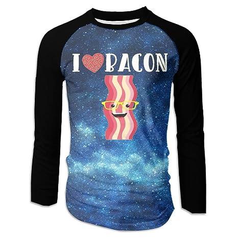 d5eaae26d Love Bacon Hear Men Long Sleeve Raglan Casual Round Neck Top Graphic T-Shirt  M