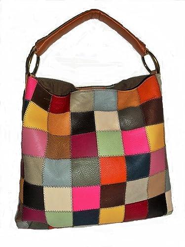 c15f874f95 Amazon.com  Kooba Leather Multicolor Patchwork Shoulder Handbag Purse Bag   Shoes