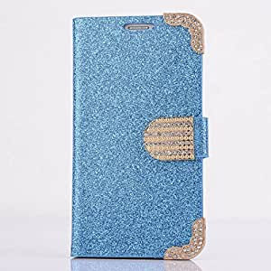 DKX Diamonds Flip Slot Wallet Case Cover Pouch For Samsung Galaxy S5 V i9600 G900-Blue