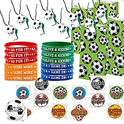 Soccer Party Favors for 12 - Soccer Whistles (12), Soccer Wrist Bands (12), Soccer Tattoos (72), Soccer Theme Favor Gift Bags (12) and Happy Birthday Sticker (Total 109 Pieces)