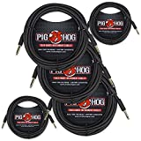 Pig Hog PCH20BK ''Black Woven'' Instrument Cable, 20ft. Right Angle - 5 Pack