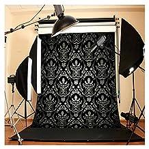 Futu - Fondo de vinilo con diseño de hojas de arce, color negro, 1,5 x 1,8 m