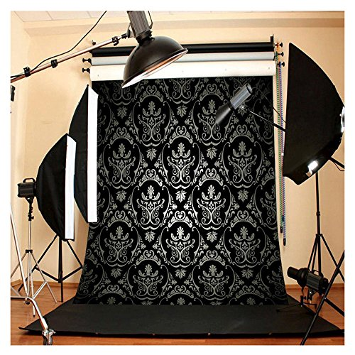 FUT Black Maple Leaf Vivid Pattern Vinyl Backdrop Background Ideal for Studio Photography Video Television Backdrops or Home Wall Decor 5x7ft (Videos Fut De)