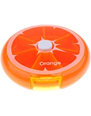 MagiDeal 7 Days Weekly Round Rotating Pill Box Tablet Capsule Dispenser Travel Candy Container Storage - Orange