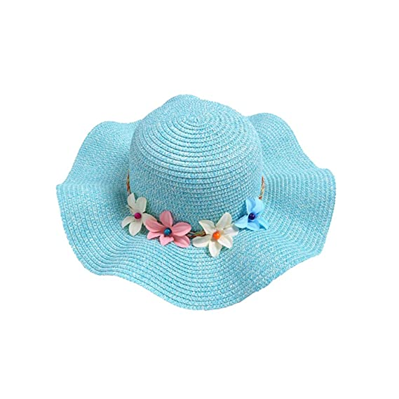 543056bc31c Girls Wide Brim Flower Straw Hats - Kids Foldable UV Protection Sun Visor  Hat - Children Summer Wave edge Beach Cap (light blue)  Amazon.co.uk   Clothing