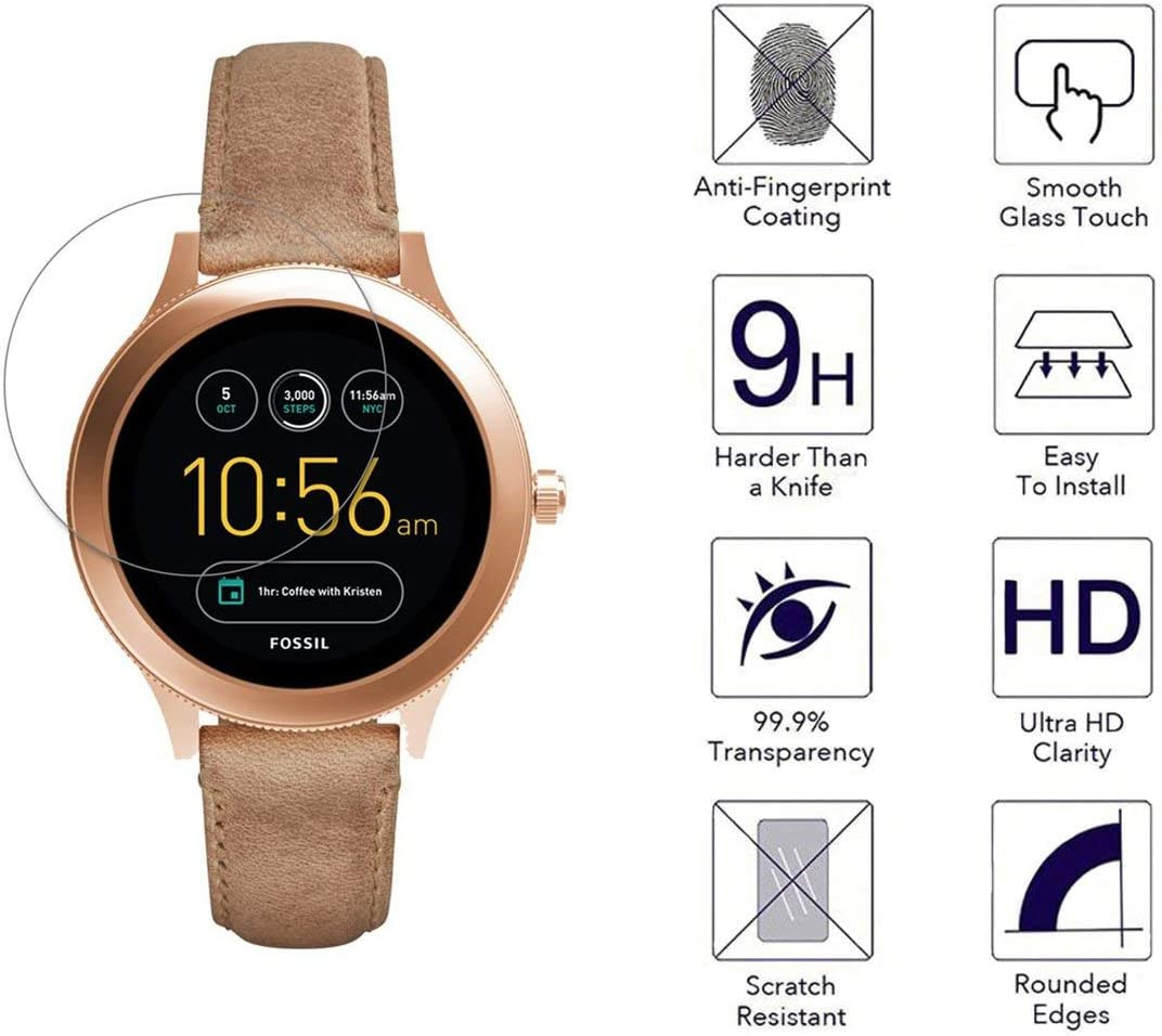 3 Pack No White Edge Easy-Install Screen Protector for Fossil Q Venture Gen 3 Smartwatch. /… FINENIC 9H Tempered Glass