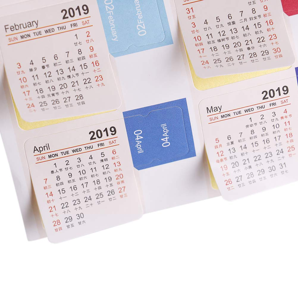 Amazon.com : TUANTUAN 16 Sheets Mini 2019 Calendars Stickers ...