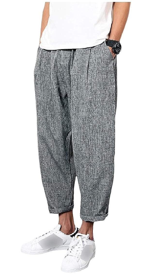 Coolred-Men Casual Retro Linen Pure Colour Oversized Pockets Harem Pants