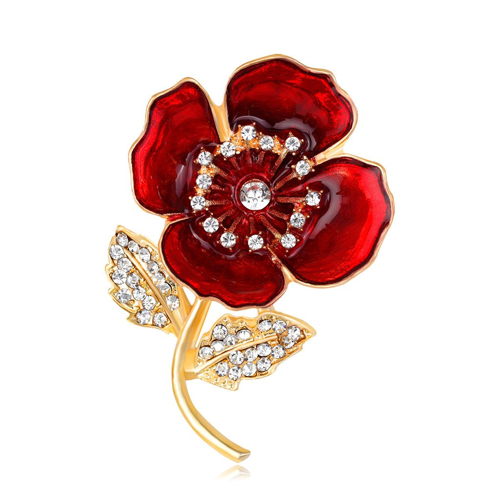 Toogoo Poppy Brooches Lapel Pin Badges Crystal Banquet Red Poppy
