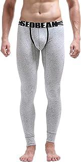 Emubody Men Print Cotton Breathable Sports Leggings Thermal Long Underwear Pants Emubody01
