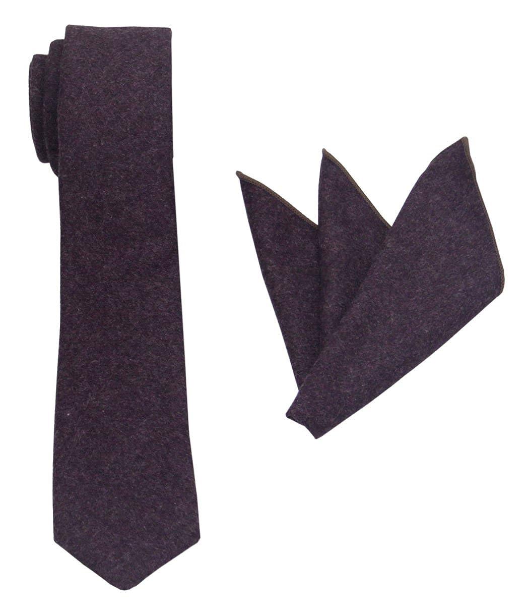 Slim Plain Necktie and Pocket Square Set-Various Colors Mens Solid Wool Tie