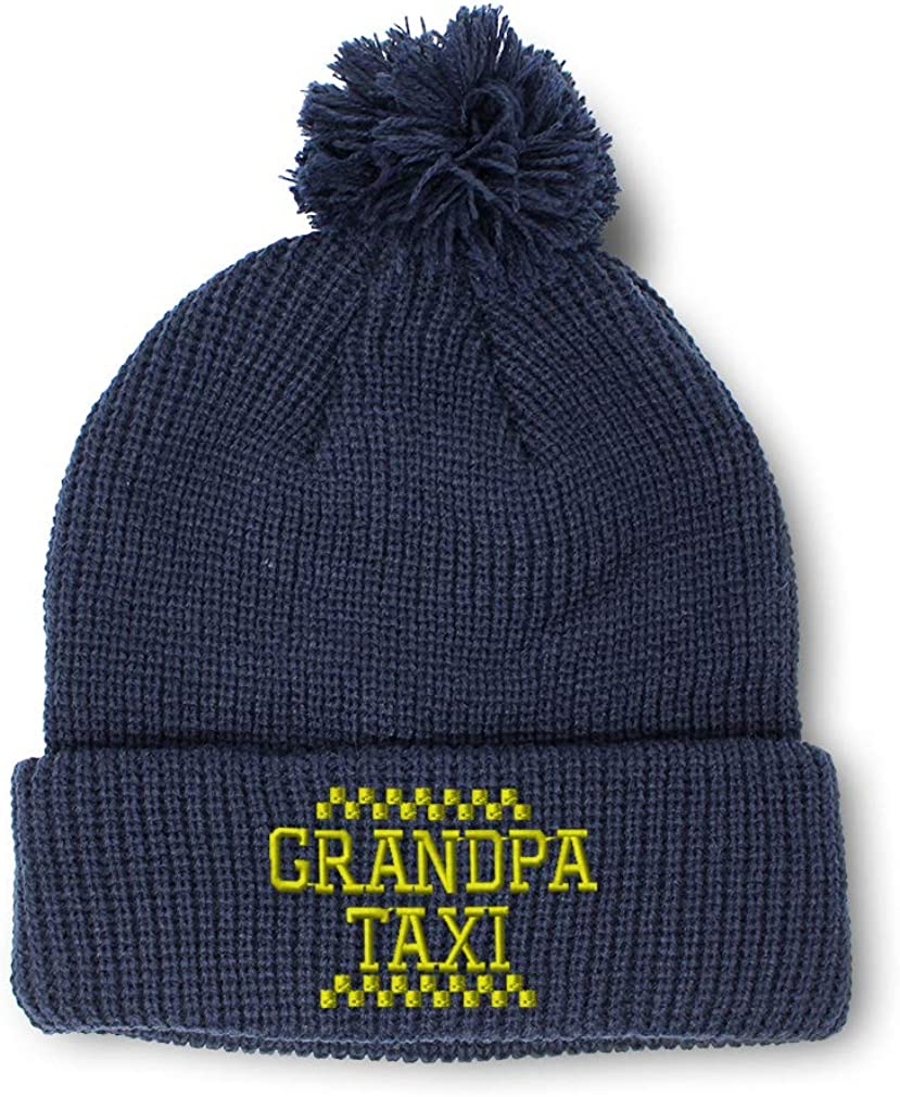 Winter Pom Pom Beanie Men /& Women Grandpa Grandfather Taxi Embroidery 1 Size