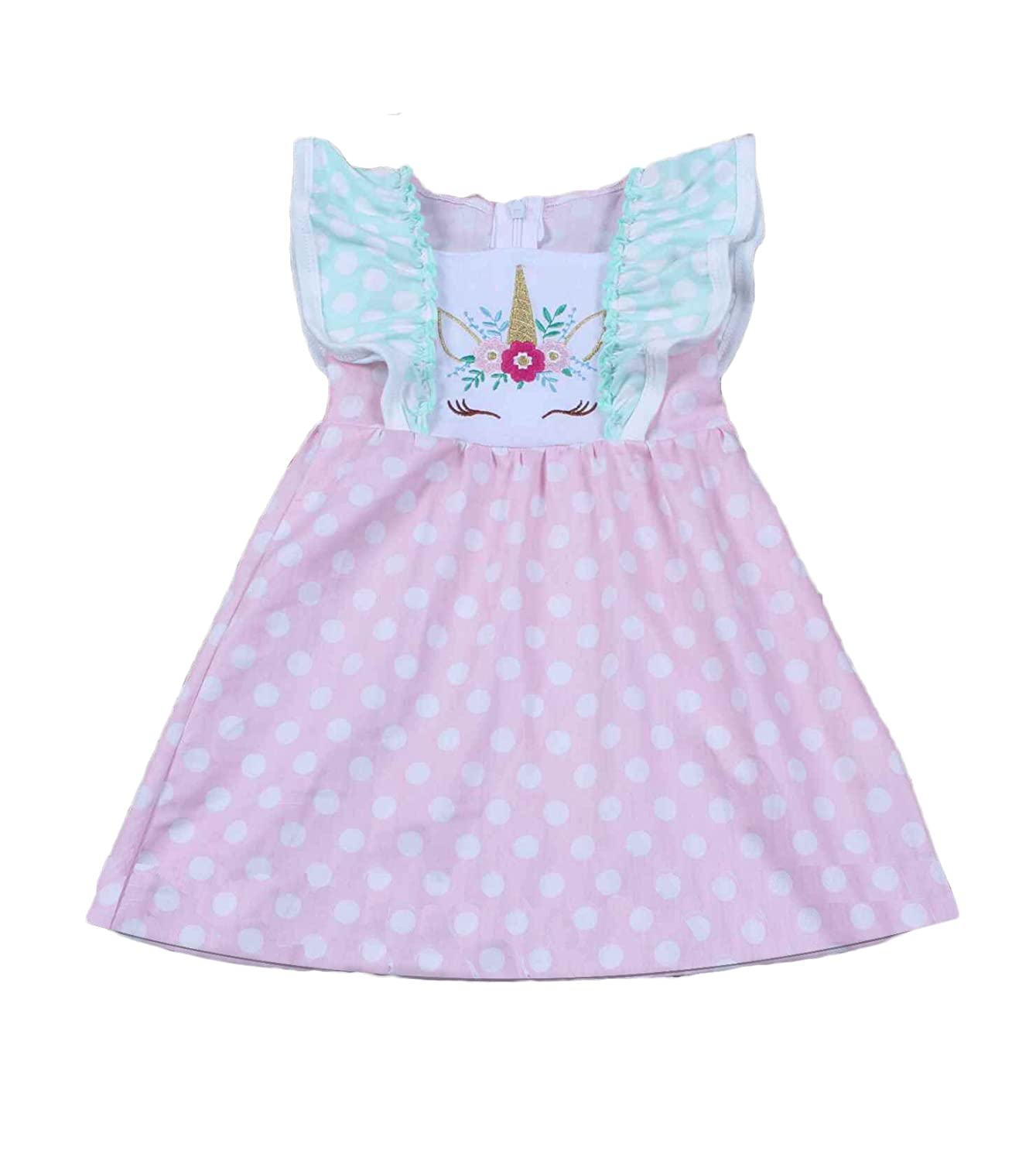 Yawoo Haan Little Girls Summer Embroidery Boutique Dress with Belt