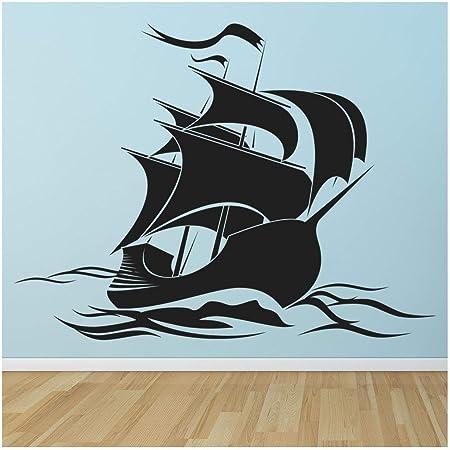azutura Barco Pirata Vinilos Bandera Pirata Pegatina Decorativos Pared Sala de niños Decoración del hogar Disponible en 5 tamaños y 25 Colores X-Grande Negro: Amazon.es: Hogar