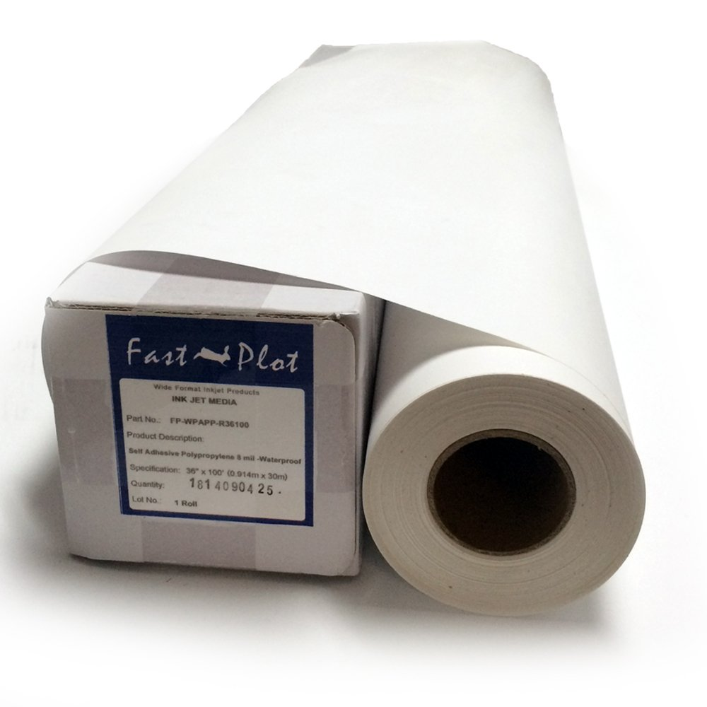 FastPlot Self Adhesive Vinyl Waterproof 4 mil / 100g - 42'' x 60Ft - 2'' core