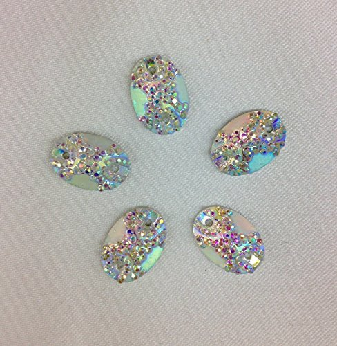 Resin Stone Oval Shape 13mm x 18mm Silver AB Flat Back Sew or Glue on Geometric Glitter Resin for DIY Earrings, Scrapbook Phone case, Bezel Price by pack/120 pcs by Top Trimming