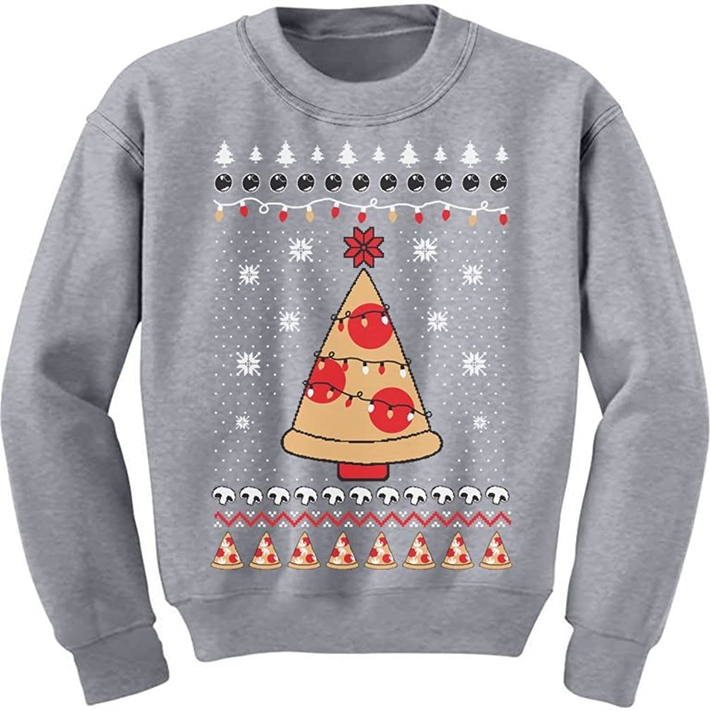Pizza Ugly Christmas Sweater Xmas Pizza Tree Youth Kids Sweatshirt