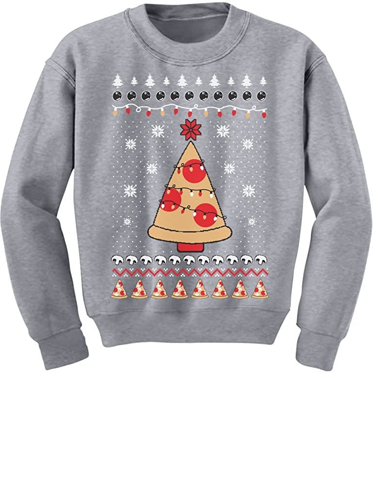 TeeStars - Pizza Ugly Christmas Sweater Xmas Pizza Tree Youth Kids Sweatshirt GMPlh3hgfm